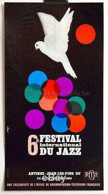 6th International Festival Of Jazz Antibes 1965 Original Poster 60's Poster