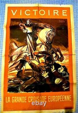 Authentic Ww2 / Lvf / Original Poster / 80 CM X 1.17 M