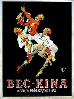 Bec-kina Litho Mich 1929 122x162cm Rugby Bordeaux Original Poster Affiche Ancie