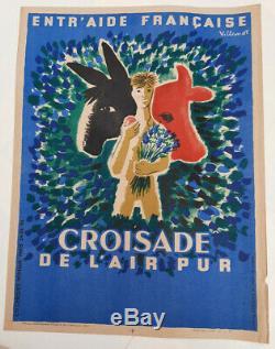 Crusade Clean Air Bernard Villemot Displays Old / Original 1947 Poster