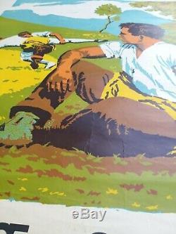 Displays Old / Original Poster Chateau D'oex Festival 1970 Alpine Swiss Wrestling
