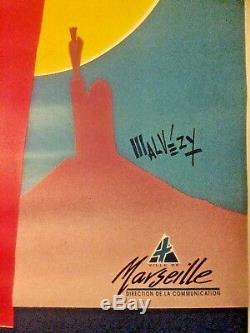 Displays Rare Original Vintage Post Sails Marseille Years 1992 118x168