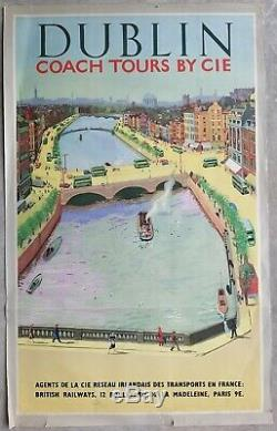 Dublin Ireland British Railways Poster Old / Original 1950's Post