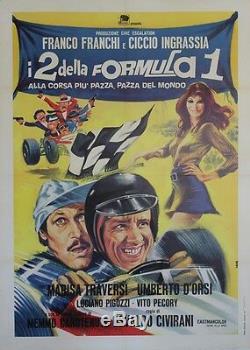 I 2 Della Formula 1 Italian Original Poster Entoilée (osvaldo Civirani)