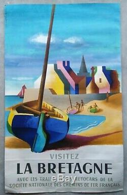 Lot 5 Posters Former Sncf Brenet, Brittany / Original Railway Posters