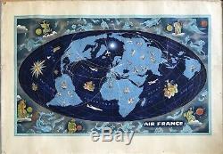 Lucien Boucher Air France World Map Shows Zodiac Original Vintage Poster