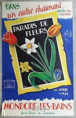 Mondorf Luxembourg Paradise Flower Poster Old / Original 1950's Post