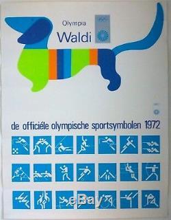 Munich 1972 Olympic Games Original Poster Official 1972 Mascot +