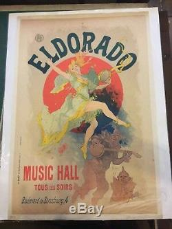 Music Hall Jules Cheret Post Poster Eldorado Sign Original Lithograph