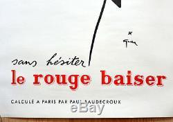 Original Advertising Displays Red Kiss Rene Gruau 1949 Very Rare