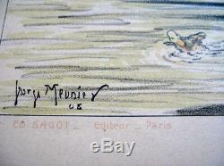 Original Lithograph 1905 Georges Meunier Renault Auto Shows Post