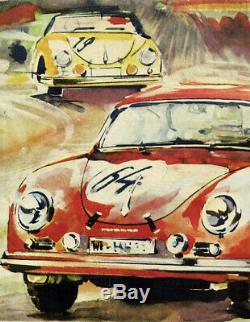Original Porsche 356 1951-1952 Poster Post Faucet / Stuttgart Rare