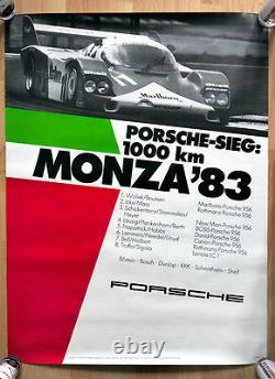 Original Porsche Poster Poster 1000 Km Monza 7 X Porsche 956 Victory 1983