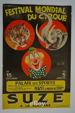 Original Poster Circus World Festival Rene Quail 1948 Antique Circus Posters