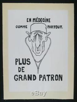 Original Poster May 68 Medicine De Gaulle Entoilée Lined Post 1968 318