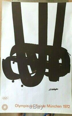 Original Poster Offset Pierre Soulages Oj Munchen Munich 1972 Olympics Post