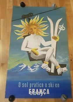 Original Poster Poster Old Ski O Sol Pratica O Ski En Franca Dubois