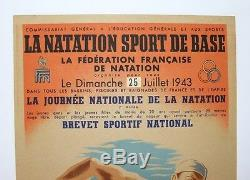 Original Poster Swimming Ffn July 25, 1943 Litho Post Ww2 Guyenne Swimming