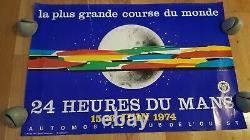 Original Poster Vintage 24 H Du Mans Race Poster 1974 Signed Jacquelin Num 989