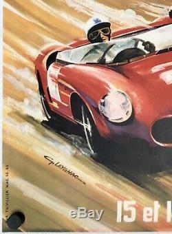 Original Vintage Poster 24 Hours Du Mans 1963 Automobile Racing Leygnac