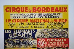 Original Vintage Poster Circus Bordeaux, Antique Circus Posters