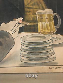 Original Wide French Poster Displays La Meuse 1895 Ludek Marold Lemercier Paris