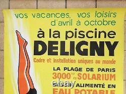 Paris Swimming Pool Baths Deligny Poster Old Litho/original Pool Poster 1970's