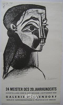 Picasso Pablo Poster 1968 Signed In Plate Signed Poster Gallery Nierendorf