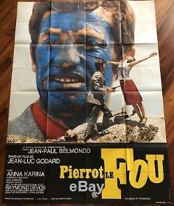 Pierrot Le Fou / Belmondo / Displays / Cinema / Poster / Original / Ex