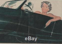 Pin-up Motor Original Poster In Entoilée Carols (brenot) 1950 50x34cm