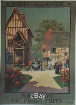 Pont-audemer Hostel Old Well Original Poster Linen Backed Litho Alo