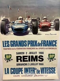 Rare Original Poster Race Auto Grand Prix Of France Reims 1966 Race Poster