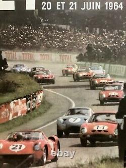 Rare Original Race Auto 24hr Of Mans 1964 Race Poster Le Mans