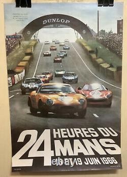 Rare Original Race Auto 24hr Of Mans 1966 Race Poster Le Mans