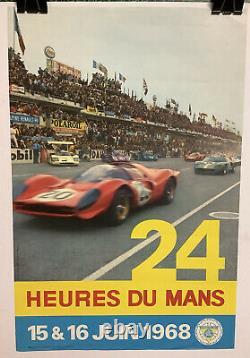 Rare Original Race Auto 24hr Of Mans 1968 Race Poster Le Mans