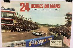 Rare Original Race Auto 24hr Of Mans 1973 Race Poster Le Mans