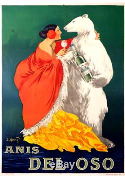 Rare Poster Old Anis Del Oso Original Vintage Poster 1919 By J. Sping