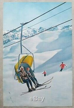 Set Of 10 Vintage Posters / Original Posters Tourism Skiing / Winter Sports / Winter