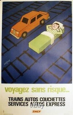 Sncf Travel Safe Original Poster Linen Backed Savignac 1970 67x105cm