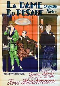 The Lady Of Weighing Poster Original Lithography 1924 Clerice French Poster