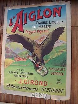 Vintage Old Original 1900 Poster Absinthe Epoch. Old Advertising Poster