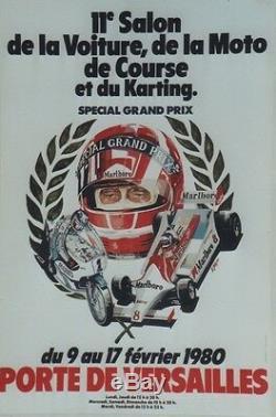 11e SALON VOITURE, MOTO de COURSE, KARTING 1980 Affiche originale entoilée 44x65cm
