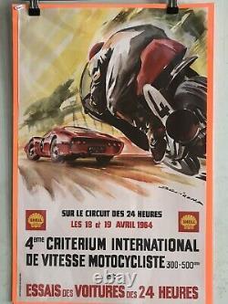 4ème CRITERIUM DE VITESSE MOTOCYCLISTE 1964Affiche originale BEVIGONA