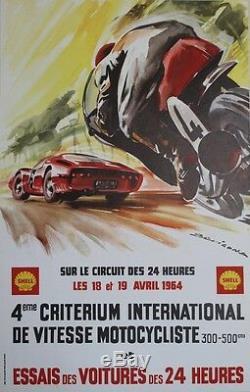 4ème CRITERIUM DE VITESSE MOTOCYCLISTE 1964Affiche originale entoilée BEVIGONA