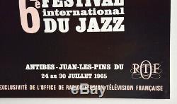 6e FESTIVAL INTERNATIONAL DU JAZZ Antibes 1965, Affiche originale 60's poster
