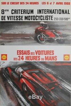 8ème CRITERIUM DE VITESSE MOTOCYCLISTE 1968 Affiche originale entoilée TIFP