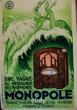 AFFICHE ART DÉCO de 1934 MONOPOLE Original Vintage Lithographie 078X120 Cms