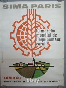 AFFICHE ORIGINAL POSTER Salon International de Agriculture machine agricole 1966