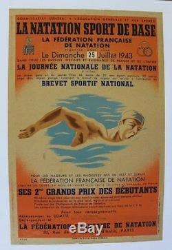 AFFICHE originale NATATION FFN 25 JUILLET 1943 LITHO poster Guyenne WW2 swimming