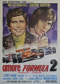 AMORE FORMULA 2 Affiche originale italienne entoilée 1970 (Giacomo AGOSTINI)